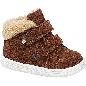 Levně Hnědá kožená kotníková dětská obuv na suchý zip Elefanten