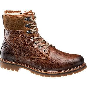 Levně Hnědá kožená kotníková obuv AM Shoe se zipem