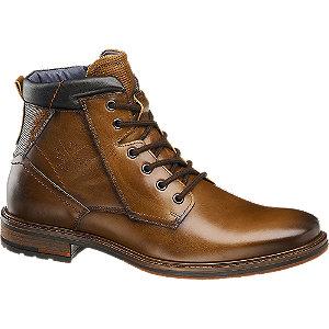 Levně Hnědá kožená kotníková obuv se zipem AM Shoe