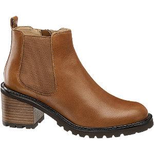 Levně Hnědá kožená obuv chelsea 5th Avenue se zipem