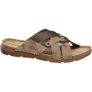 Levně Hnědé kožené pantofle Memphis One