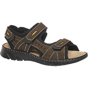 Levně Hnědé kožené sandály Claudio Conti suchý zip