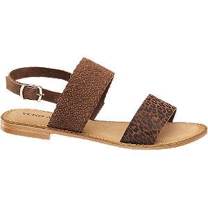Levně Hnědé kožené sandály Vero Moda se zvířecím vzorem