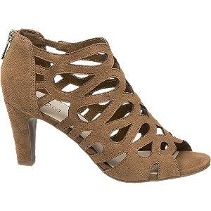 Levně Hnědé kožené sandály na podpatku 5th Avenue