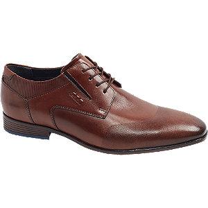 Levně Hnědá kožená společenská obuv AM SHOE
