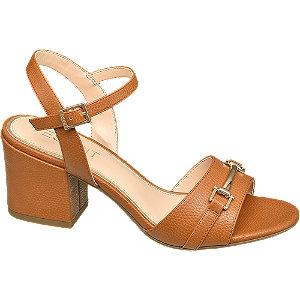 Levně Hnědé sandály na podpatku Esprit