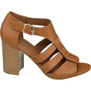 Levně Hnědé sandály na podpatku Graceland
