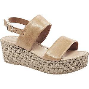 Levně Hnědo-béžové kožené sandály na platformě 5th Avenue