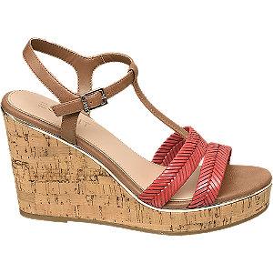 Levně Hnědo-červené sandály na klínovém podpatku Esprit