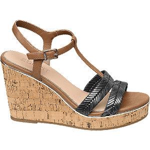 Levně Hnědo-modré sandály na klínku Esprit