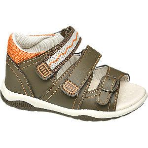 Levně Kaki dětské sandály na suchý zip Bobbi Shoes