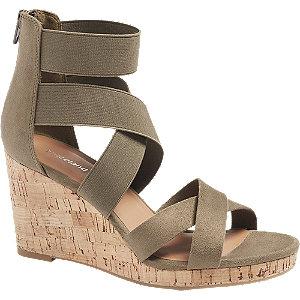 Levně Khaki sandály na klínku Graceland