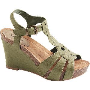Levně Khaki sandály na klínovém podpatku Graceland