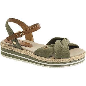 Levně Khaki zelené sandály na platformě Tom Tailor