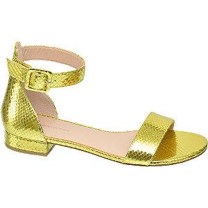 Levně Metalické žluté sandály Rita Ora se zvířecím vzorem