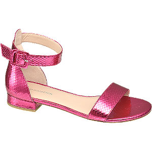 Levně Metalické růžové sandály Rita Ora se zvířecím vzorem