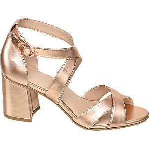 Levně Metalické růžové sandály na podpatku Graceland