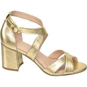 Levně Metalické zlaté sandály na podpatku Graceland