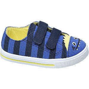 Levně Modré dětské bačkůrky na suchý zip Bobbi-Shoes