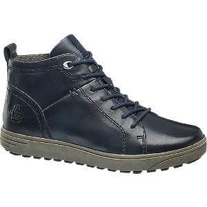 Levně Modrá kožená komfortní šněrovací obuv Medicus se zipem