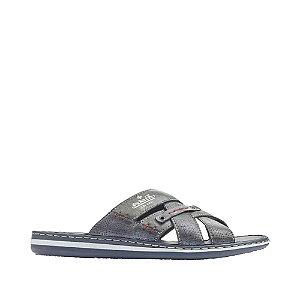 Levně Modré kožené komfortní pantofle Rieker