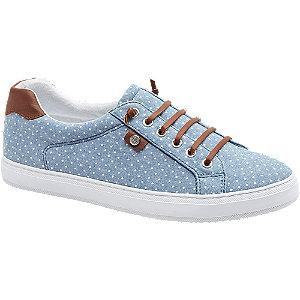 Levně Modré plátěné slip-on tenisky Graceland s puntíky