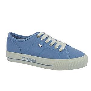 Levně Modré plátěné tenisky na platformě Tom Tailor