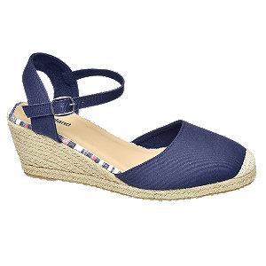 Levně Modré sandály na klínovém podpatku Graceland