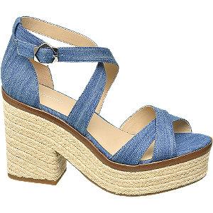 Levně Modré sandály na podpatku Graceland