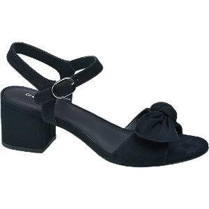 Levně Modré sandály na podpatku Graceland s mašlí