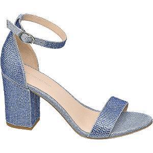 Levně Modré sandály na podpatku Rita Ora s kamínky