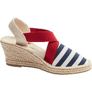 Levně Modro-bílé sandály na klínku Claudia Ghizzani
