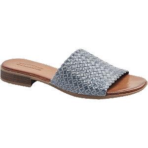 Levně Modro-šedé kožené pantofle 5th Avenue