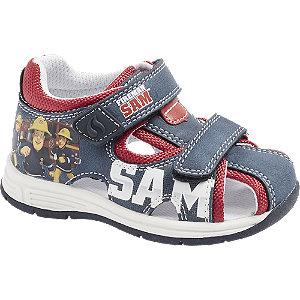 Levně Modro-červené dětské sandály na suchý zip Požárník Sam