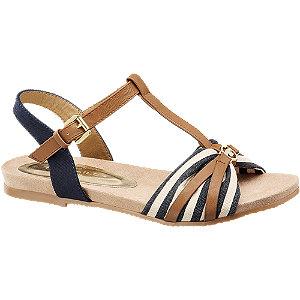 Levně Modro-hnědé sandály Tom Tailor