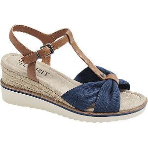 Levně Modro-hnědé sandály na klínku Esprit