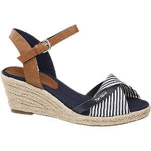 Levně Modro-hnědé sandály na klínku Tom Tailor
