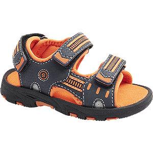 Levně Modro-oranžové dětské sandály na zuchý zip Bobbi Shoes