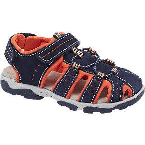 Levně Modro-oranžové kožené sandály Elefanten na suchý zip