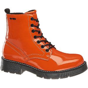 Levně Oranžová lakovaná šněrovací obuv se zipem Tom Tailor