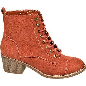 Levně Oranžová šněrovací obuv Graceland se zipem