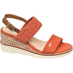 Levně Oranžové sandály na klínovém podpatku Esprit
