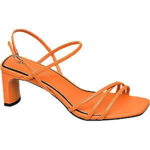 Levně Oranžové sandály na podpatku Rita Ora