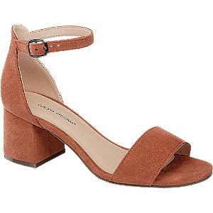 Levně Oranžovo-hnědé sandály na podpatku Claudia Ghizzani