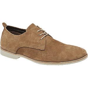 Levně Písková kožená společenská obuv AM SHOE