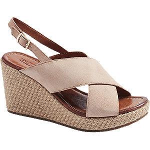 Levně Pudrové kožené sandály na klínovém podpatku 5th Avenue