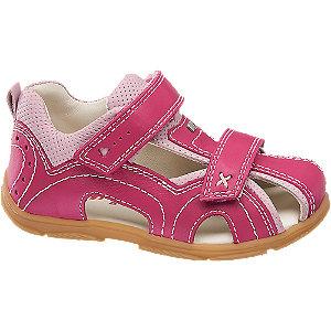 Levně Růžové dětské kožené sandály Elefanten na suchý zip