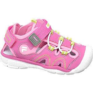 Levně Růžové dětské sandály Fila na suchý zip