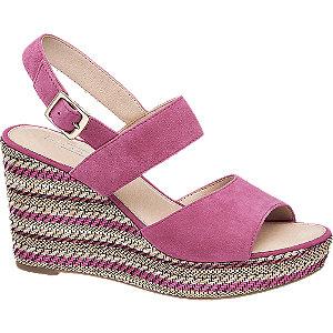 Levně Růžové kožené sandály na klínku 5th Avenue