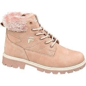 Levně Růžová kotníková šněrovací obuv se zipem Fila